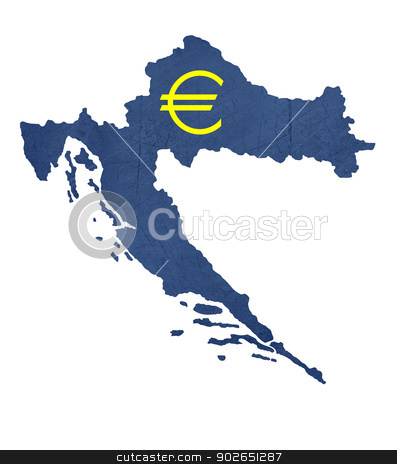 European currency symbol on map of Croatia stock photo, European currency symbol on map of Croatia isolated on white background. by Martin Crowdy