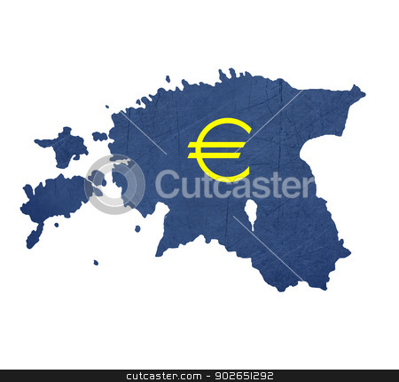 European currency symbol on map of Estonia stock photo, European currency symbol on map of Estonia isolated on white background. by Martin Crowdy