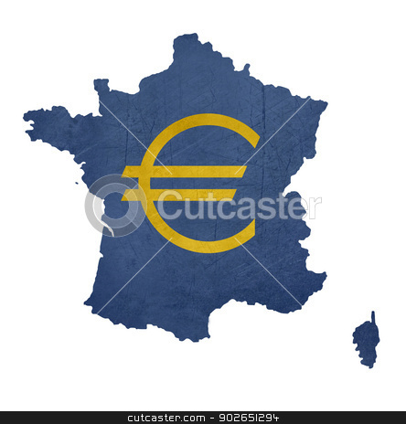 European currency symbol on map of France stock photo, European currency symbol on map of France isolated on white background. by Martin Crowdy