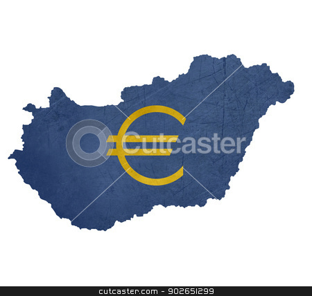European currency symbol on map of Hungary stock photo, European currency symbol on map of Hungary isolated on white background. by Martin Crowdy