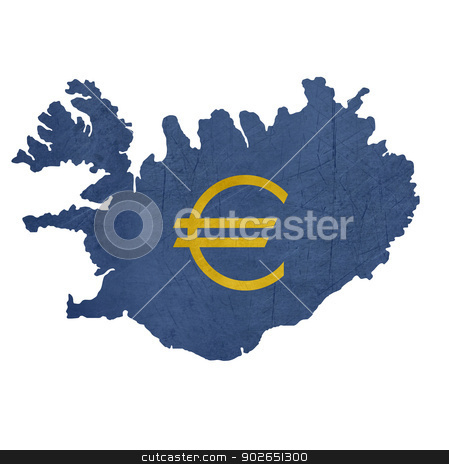 European currency symbol on map of Iceland stock photo, European currency symbol on map of Iceland isolated on white background. by Martin Crowdy
