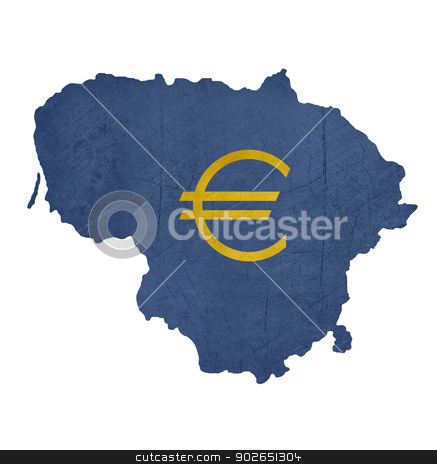 European currency symbol on map of Lithuania stock photo, European currency symbol on map of Lithuania isolated on white background. by Martin Crowdy
