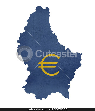 European currency symbol on map of Luxembourg stock photo, European currency symbol on map of Luxembourg isolated on white background. by Martin Crowdy