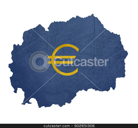 European currency symbol on map of Macedonia stock photo, European currency symbol on map of Macedonia isolated on white background. by Martin Crowdy