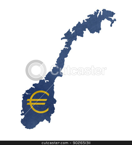European currency symbol on map of Norway stock photo, European currency symbol on map of Norway isolated on white background. by Martin Crowdy