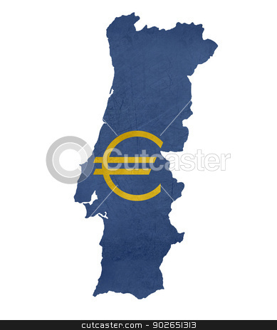 European currency symbol on map of Portugal stock photo, European currency symbol on map of Portugal isolated on white background. by Martin Crowdy