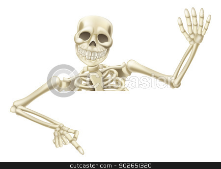 Halloween skeleton pointing stock vector clipart, An illustration of a cartoon Halloween Mummy pointing down at a sign or scroll and waving by Christos Georghiou