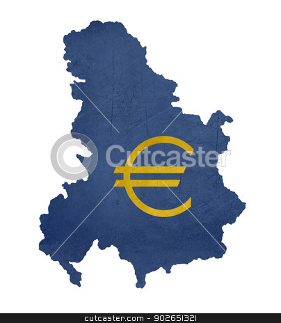 European currency symbol on map of Serbia and Montenegro stock photo, European currency symbol on map of Serbia and Montenegro isolated on white background. by Martin Crowdy