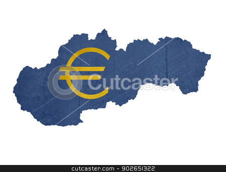 European currency symbol on map of Slovakia stock photo, European currency symbol on map of Slovakia isolated on white background. by Martin Crowdy