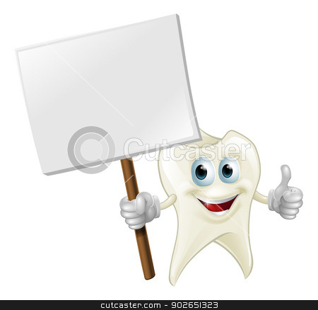 Tooth man holding a sign stock vector clipart, An illustration of a cartoon tooth man character mascot holding a sign by Christos Georghiou