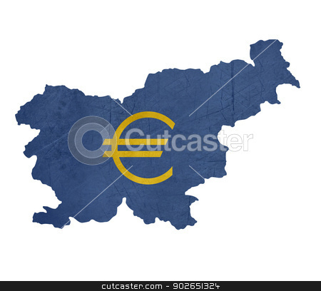 European currency symbol on map of Slovenia stock photo, European currency symbol on map of Slovenia isolated on white background. by Martin Crowdy