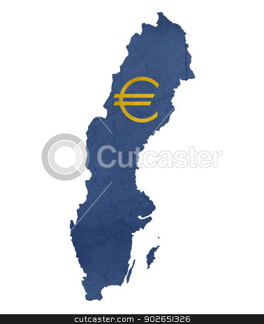 European currency symbol on map of Sweden stock photo, European currency symbol on map of Sweden isolated on white background. by Martin Crowdy