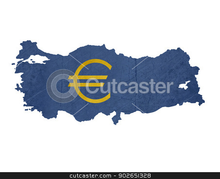 European currency symbol on map of Turkey stock photo, European currency symbol on map of Turkey isolated on white background. by Martin Crowdy