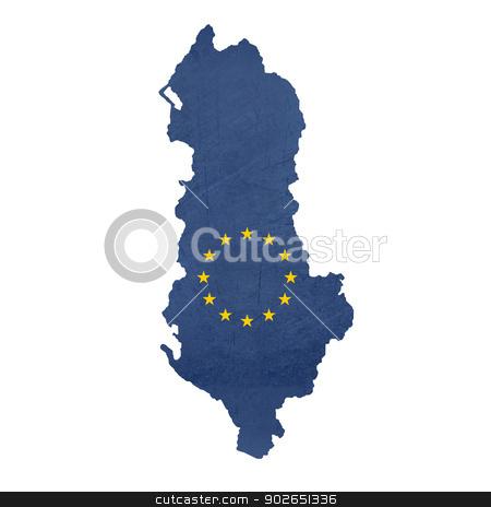 European flag map of Albania stock photo, European flag map of Albania isolated on white background. by Martin Crowdy
