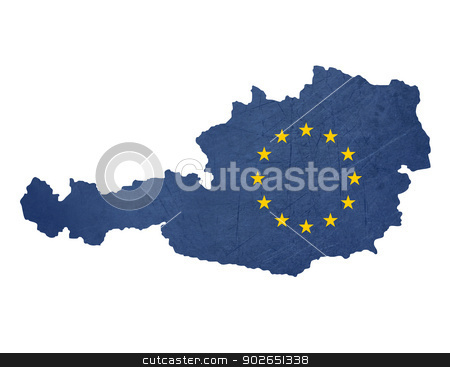 European flag map of Austria stock photo, European flag map of Austria isolated on white background. by Martin Crowdy