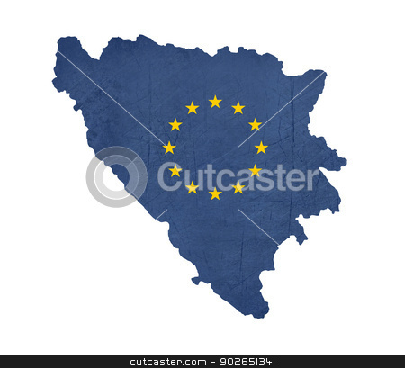 European flag map of Bosnia and Herzegovina stock photo, European flag map of Bosnia and Herzegovina isolated on white background. by Martin Crowdy