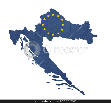 European flag map of Croatia stock photo, European flag map of Croatia isolated on white background. by Martin Crowdy