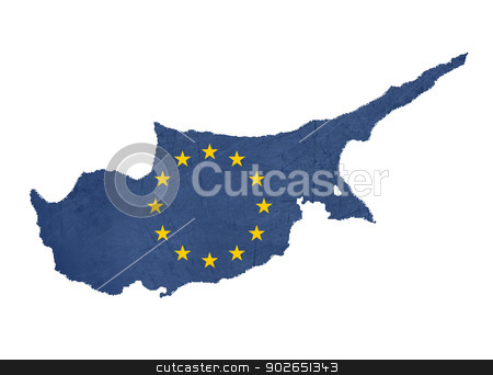European flag map of Cyprus stock photo, European flag map of Cyprus isolated on white background. by Martin Crowdy