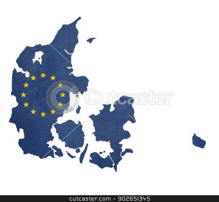 European flag map of Denmark stock photo, European flag map of Denmark isolated on white background. by Martin Crowdy