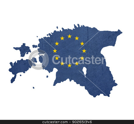 European flag map of Estonia stock photo, European flag map of Estonia isolated on white background. by Martin Crowdy