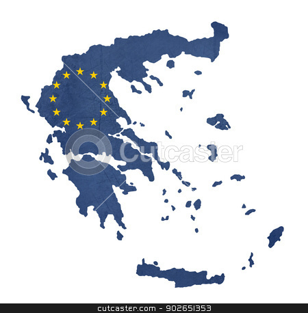European flag map of Greece stock photo, European flag map of Greece isolated on white background. by Martin Crowdy