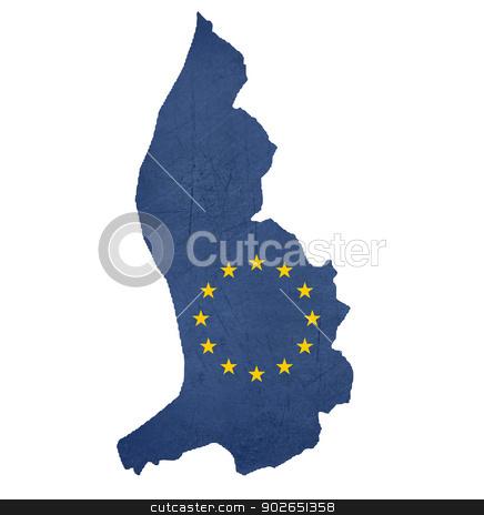 European flag map of Liechtenstein stock photo, European flag map of Liechtenstein isolated on white background. by Martin Crowdy