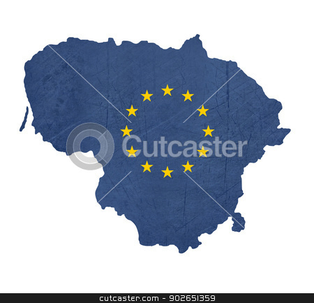European flag map of Lithuania stock photo, European flag map of Lithuania isolated on white background. by Martin Crowdy