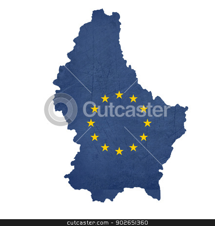 European flag map of Luxembourg stock photo, European flag map of Luxembourg isolated on white background. by Martin Crowdy