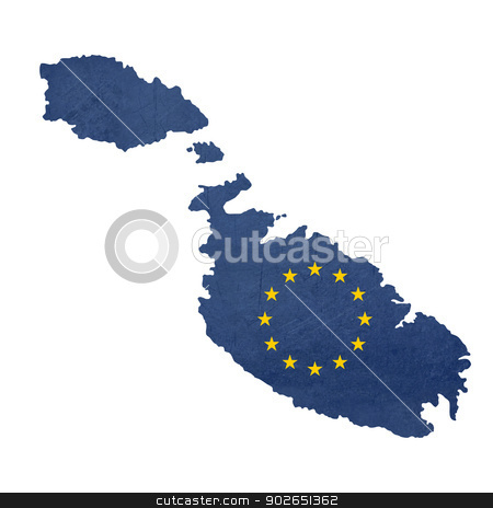 European flag map of Malta stock photo, European flag map of Malta isolated on white background. by Martin Crowdy