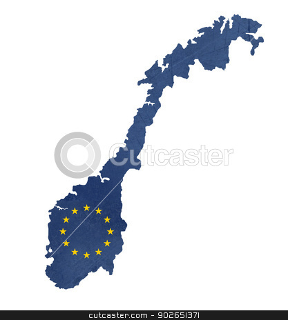 European flag map of Norway stock photo, European flag map of Norway isolated on white background. by Martin Crowdy