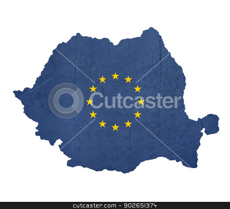 European flag map of Romania stock photo, European flag map of Romania isolated on white background. by Martin Crowdy