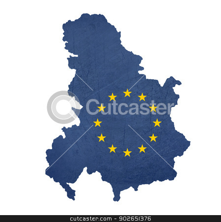 European flag map of Serbia and Montenegro stock photo, European flag map of Serbia and Montenegro isolated on white background. by Martin Crowdy