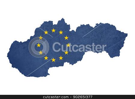 European flag map of Slovakia stock photo, European flag map of Slovakia isolated on white background. by Martin Crowdy