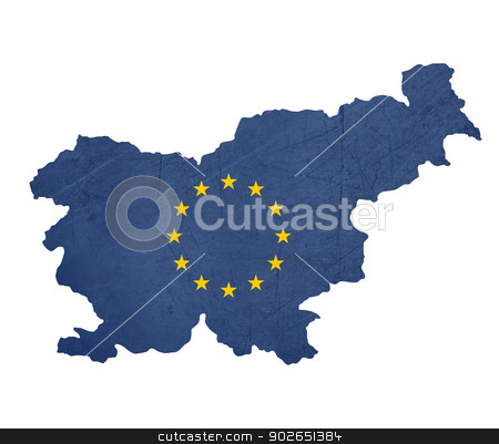 European flag map of Slovenia stock photo, European flag map of Slovenia isolated on white background. by Martin Crowdy