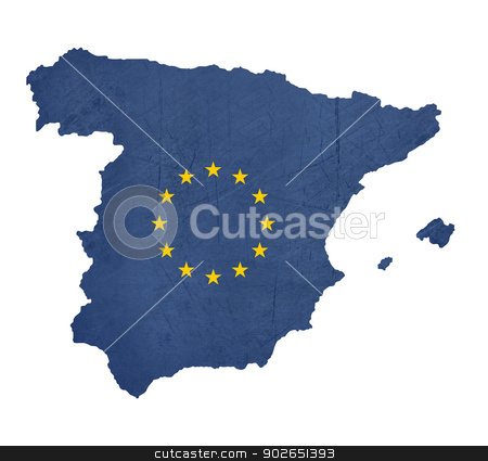 European flag map of Spain stock photo, European flag map of Spain isolated on white background. by Martin Crowdy
