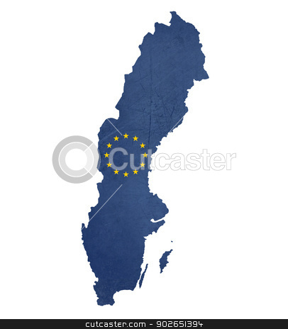 European flag map of Sweden stock photo, European flag map of Sweden isolated on white background. by Martin Crowdy