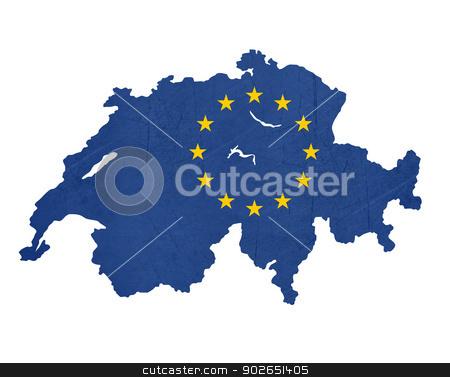 European flag map of Switzerland stock photo, European flag map of Switzerland isolated on white background. by Martin Crowdy