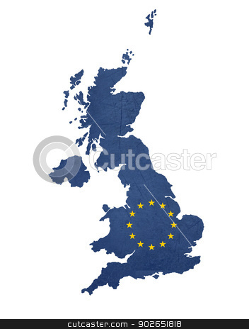 European flag map of United Kingdom stock photo, European flag map of United Kingdom isolated on white background. by Martin Crowdy