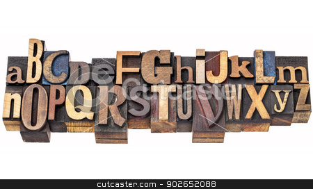 alphabet abstract in letterpress stock photo, English alphabet abstract in antique wood letterpress printing blocks of different sizes and styles, two rows isolated on white by Marek Uliasz