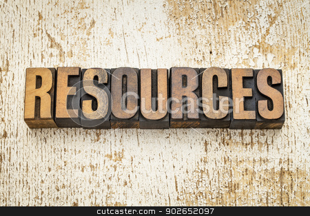 resources word in wood type stock photo, resources  word in vintage letterpress wood type on a grunge painted barn wood background by Marek Uliasz