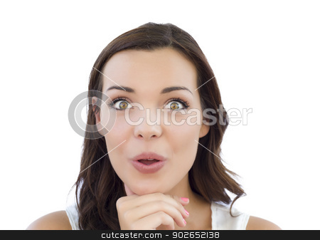 Young Adult Woman Looking At Camera on White stock photo, Beautiful Young Adult Woman Looking At Camera Isolated on White. by Andy Dean