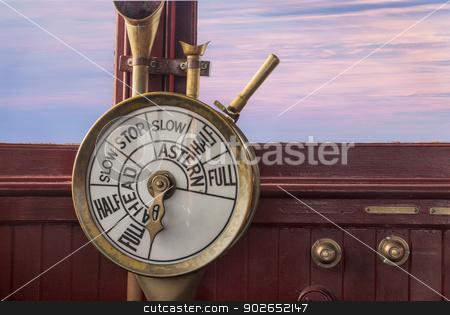 engine controls on ship brisge stock photo, engine controls (telegraph) on a vintage ship bridge by Marek Uliasz