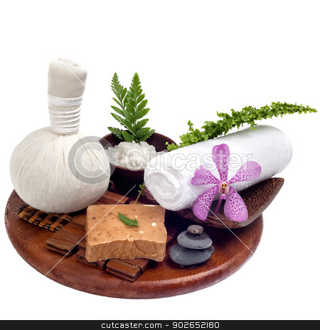 Thai spa and massage set on wood tray in white background stock photo, Thai spa and massage set on wood tray in white background by phasinphoto