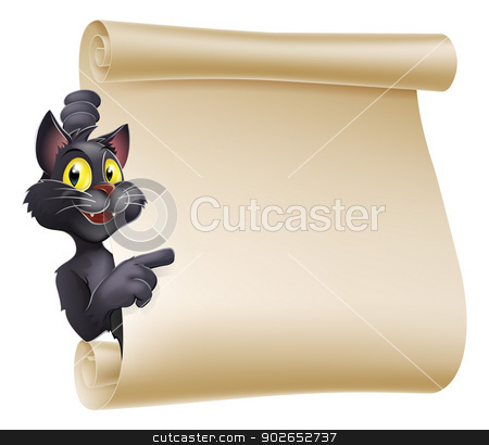 Halloween Cat Scroll stock vector clipart, An illustration of a cute cartoon Halloween cat peeping round a scroll sign and showing what is written on it. by Christos Georghiou