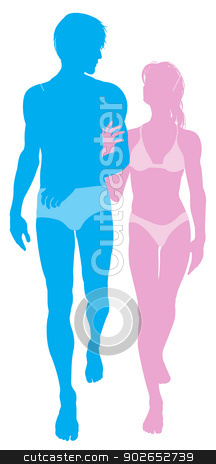 Young couple in love in swimwear stock vector clipart, Silhouette illustration of a young couple in love in swimwear walking arm in arm by Christos Georghiou