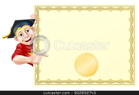 Graduate and certificate stock vector clipart, Cartoon man in graduate cap peeking round a certificate and pointing at it  by Christos Georghiou
