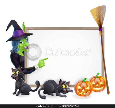 Halloween witch background sign stock vector clipart, Halloween background sign frame with witch, Halloween pumpkin, witch's black cats and broomstick, copyspace for your text by Christos Georghiou