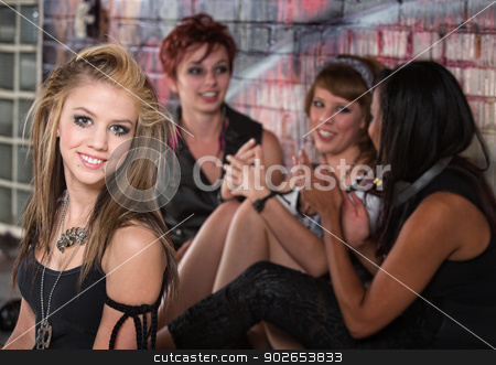 Group of Teens Talking stock photo, Group of pretty female teenagers talking together by Scott Griessel