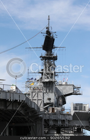 Navy Ship stock photo, Radar system of the USS Midway in San Diego. by Henrik Lehnerer