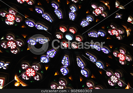 Abstract stained glass background stock photo, Abstract decorative stained glass background in church. by Martin Crowdy